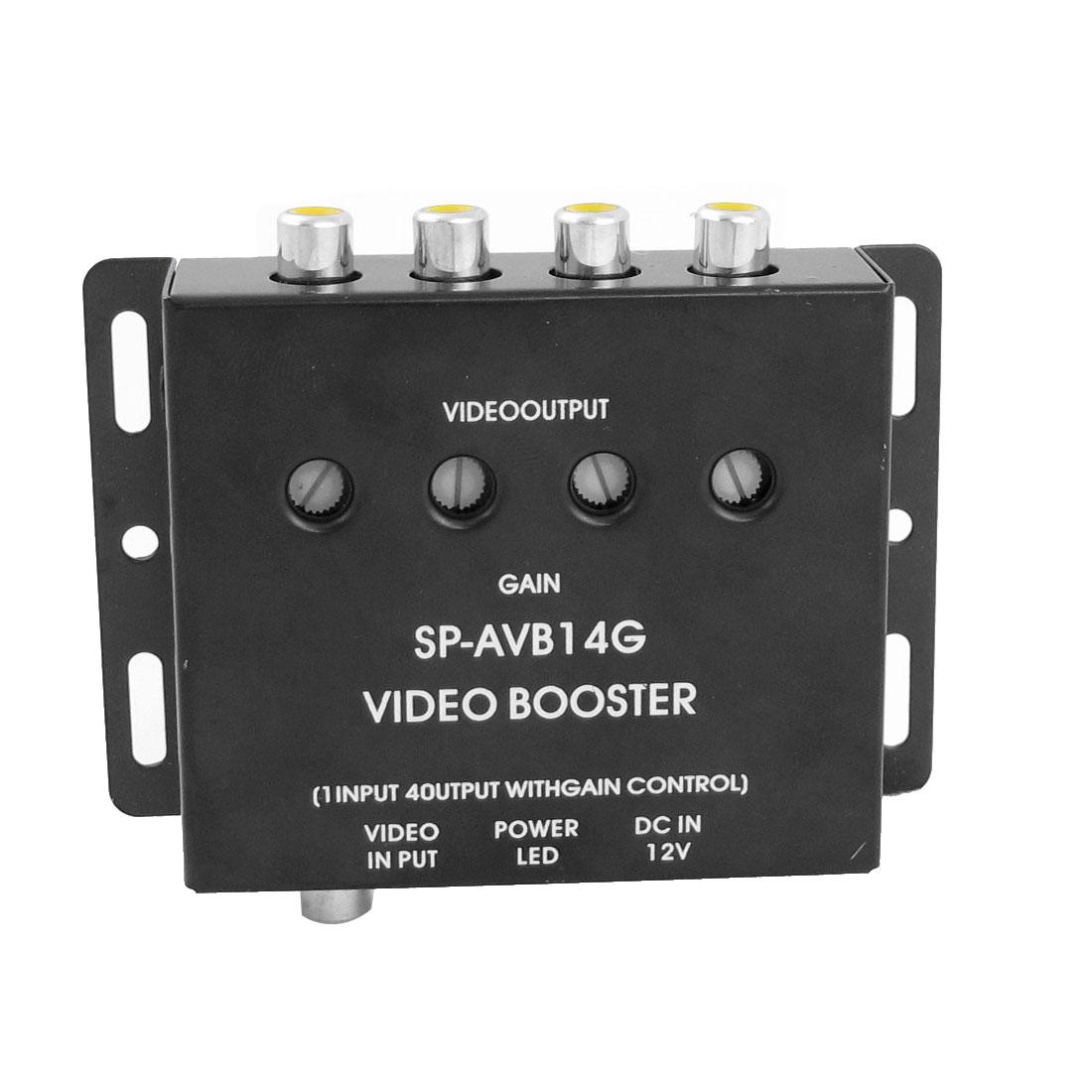 Black 1 to 4 RCA AV Video Amplifier Splitter Booster