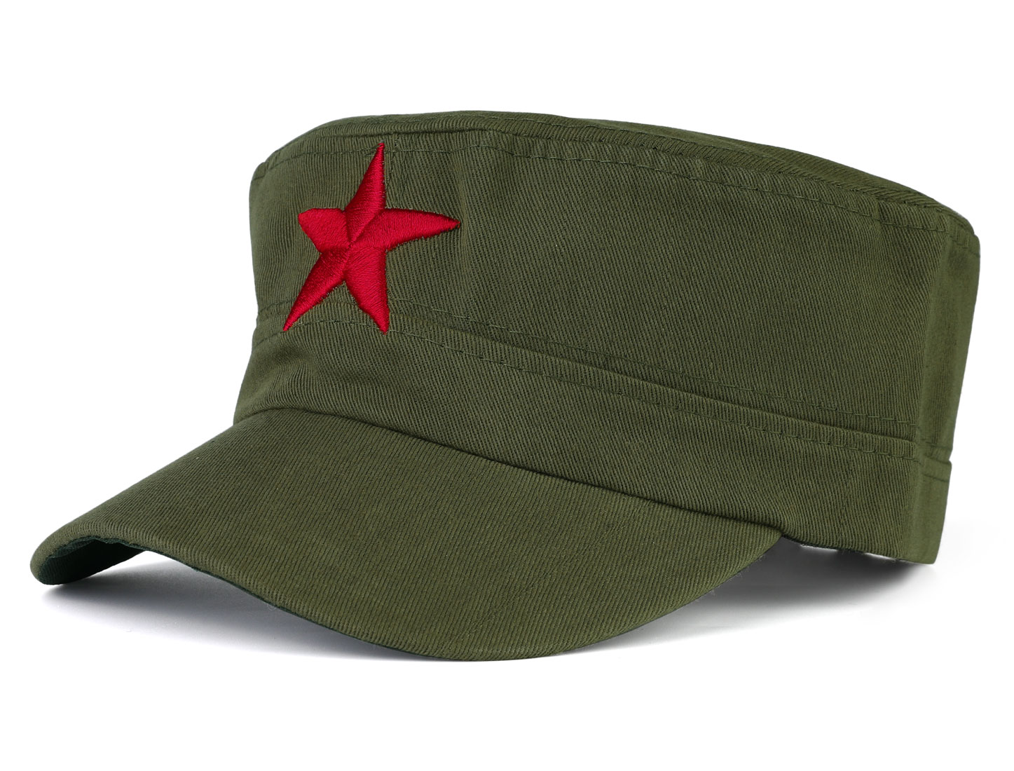 Man Trucker Red Star Detail Sun Visor Baseball Cap Hat Army Green