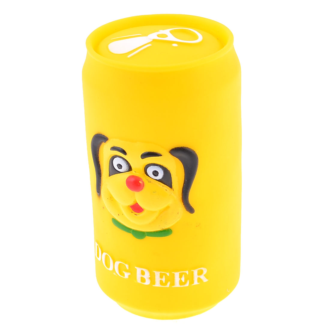 Yellow Soft Plastic Cylinder Beer Can Quack Sound Ball Dog Doggie Funny Toy