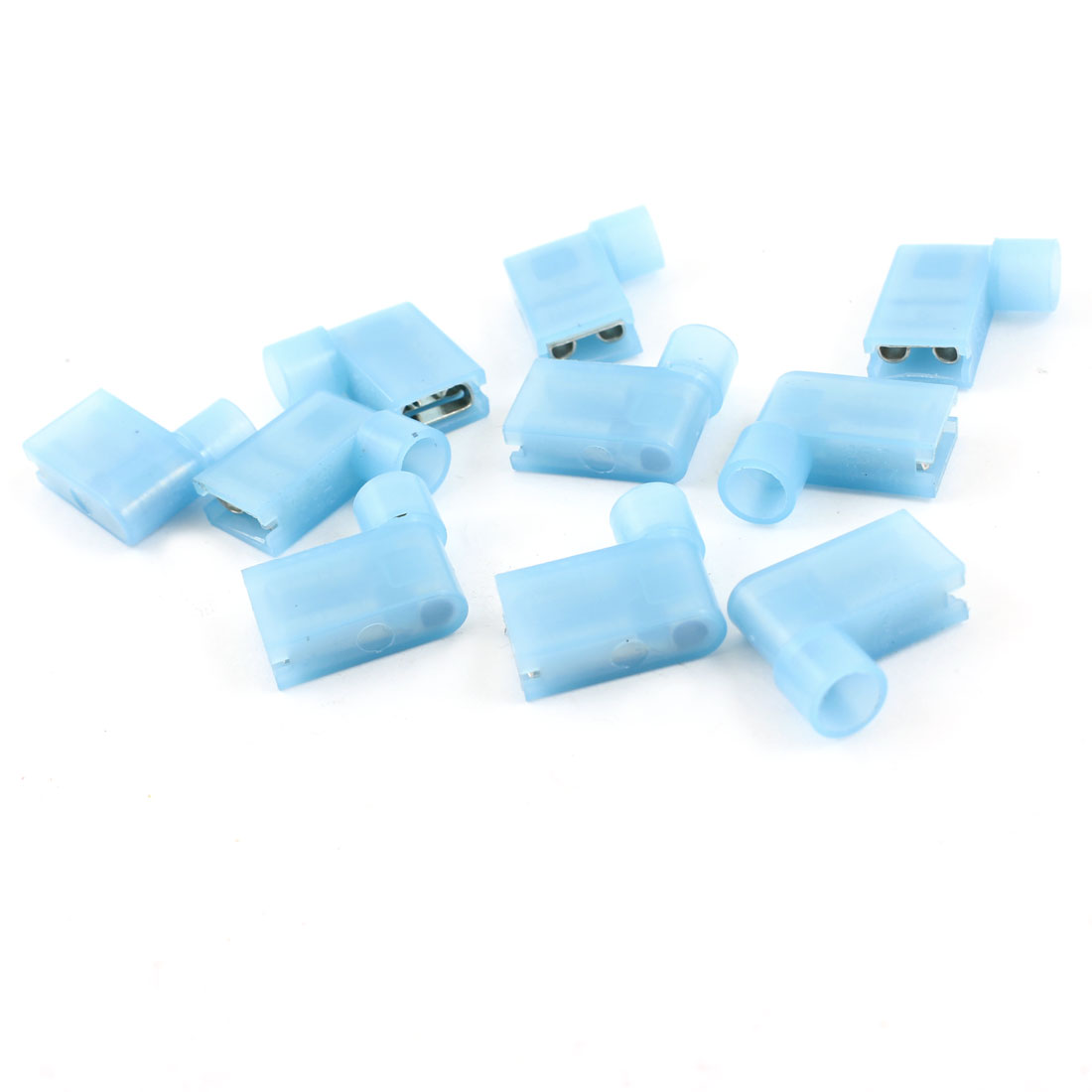 10 Pcs Light Blue Insulated Female Spade Crimp Flag Connector