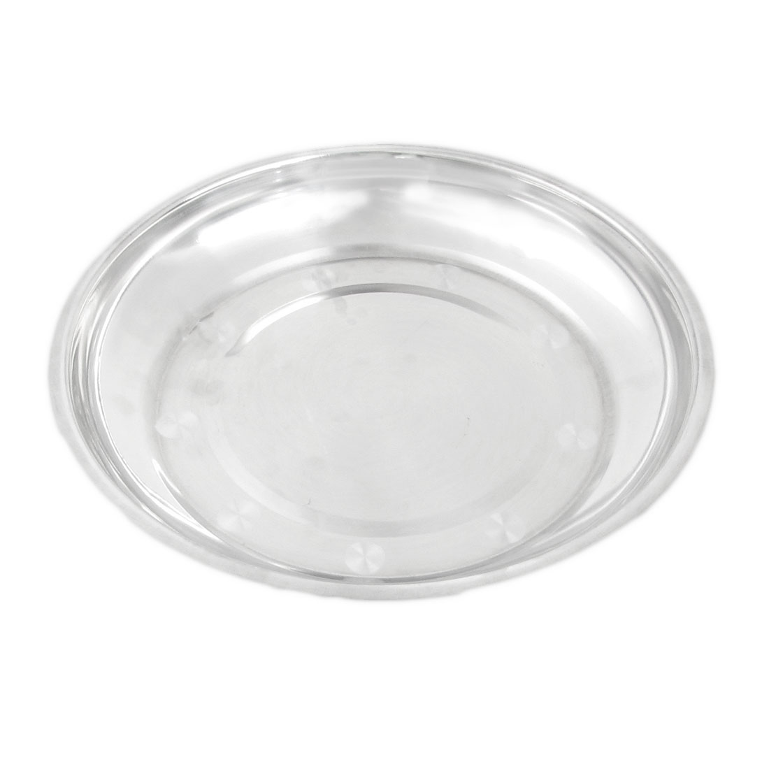 Silver Tone Stainless Steel Round Dishes Serving Tray 23cm Diameter