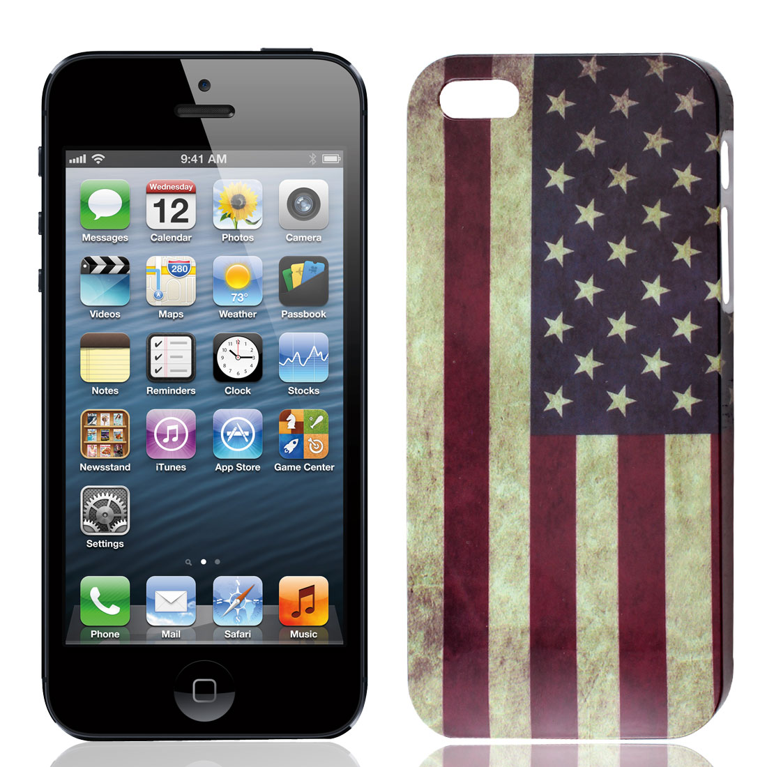 Retro Style American Flag Print IMD Hard Plastic Back Case for iPhone 5 5G