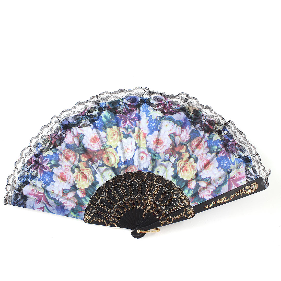 Women Colorized Flower Pattern Plastic Ribs Folding Hand Fan