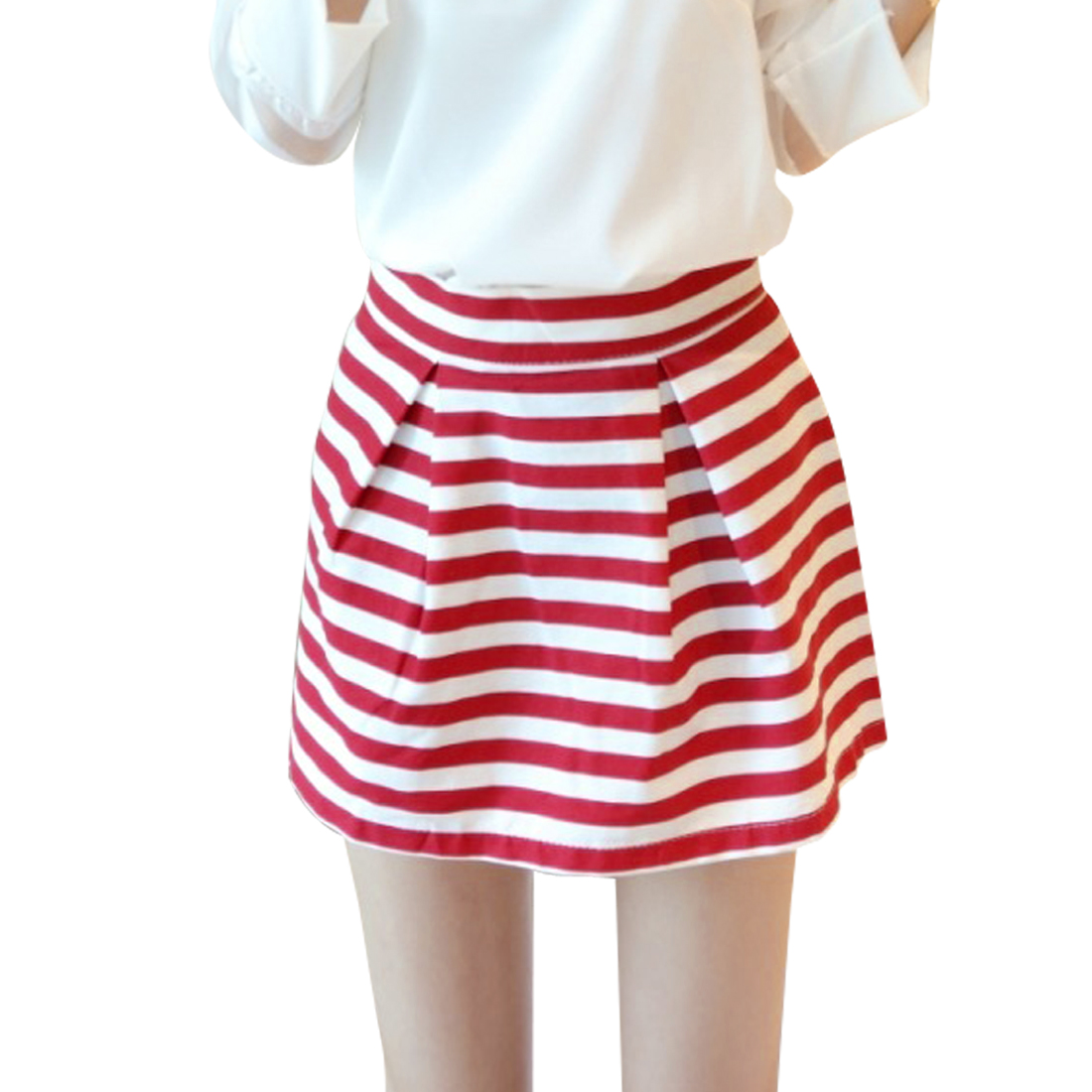 Ladies Concealed Zipper Side Pleated Detail Stripes Mini Skirt Red S