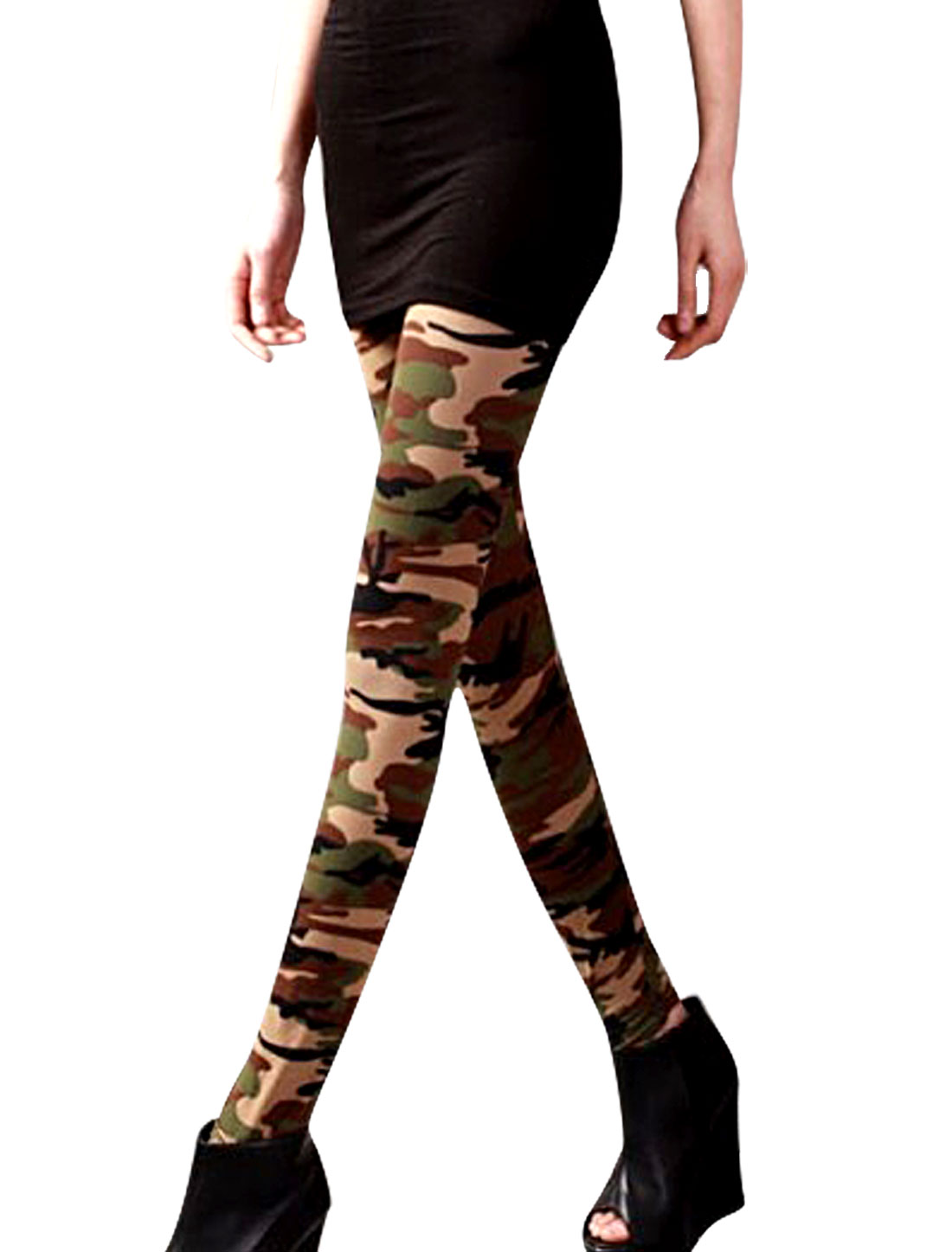 Ladies Chic Army Green Brown Camouflage Pattern Skinny Long Leggings XS
