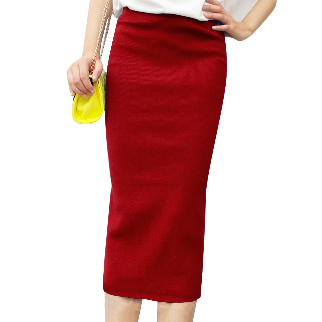 Women's Stretchy Stylish Back Slit Easy-wear S Solid Red Knitted Skirt