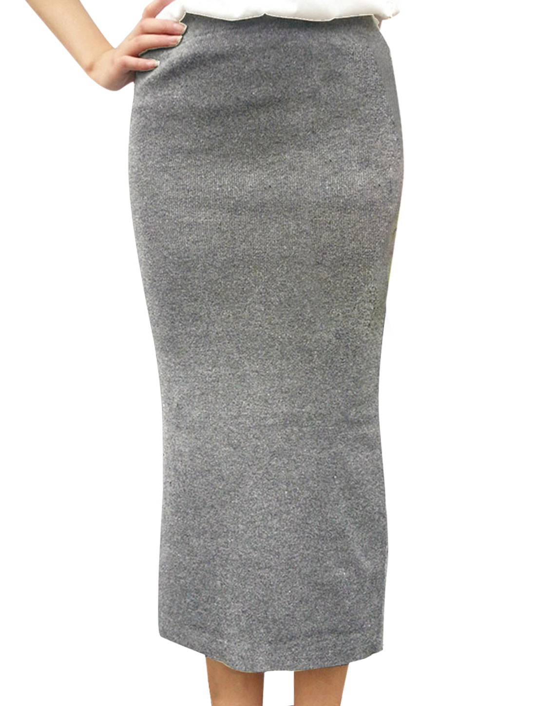 Women's Elastic Back Slit Casual Long Knitted Skirt Light Gray S