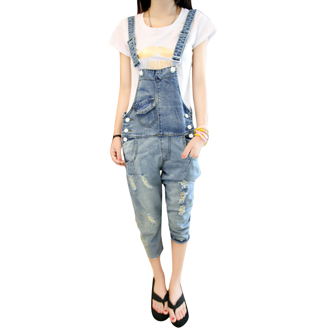 Women Removerable Strap Button Up Destroyed Capris Overalls Blue M