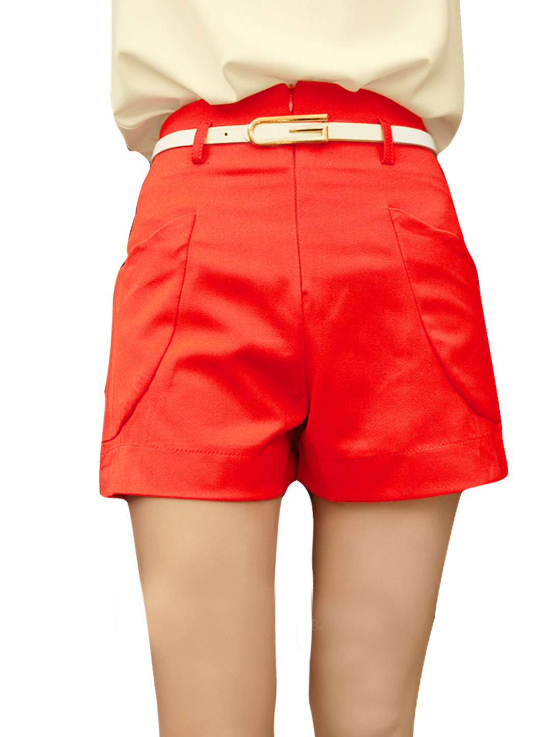 Women's High Waist Simple Design Stylish Retro Orange XS Shorts