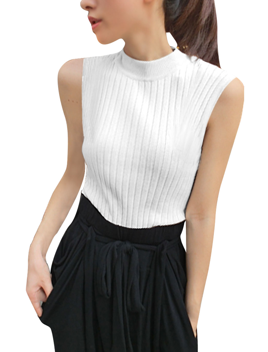 Women Mock Neck Pullover Sleeveless Knitted Tank Top White XS