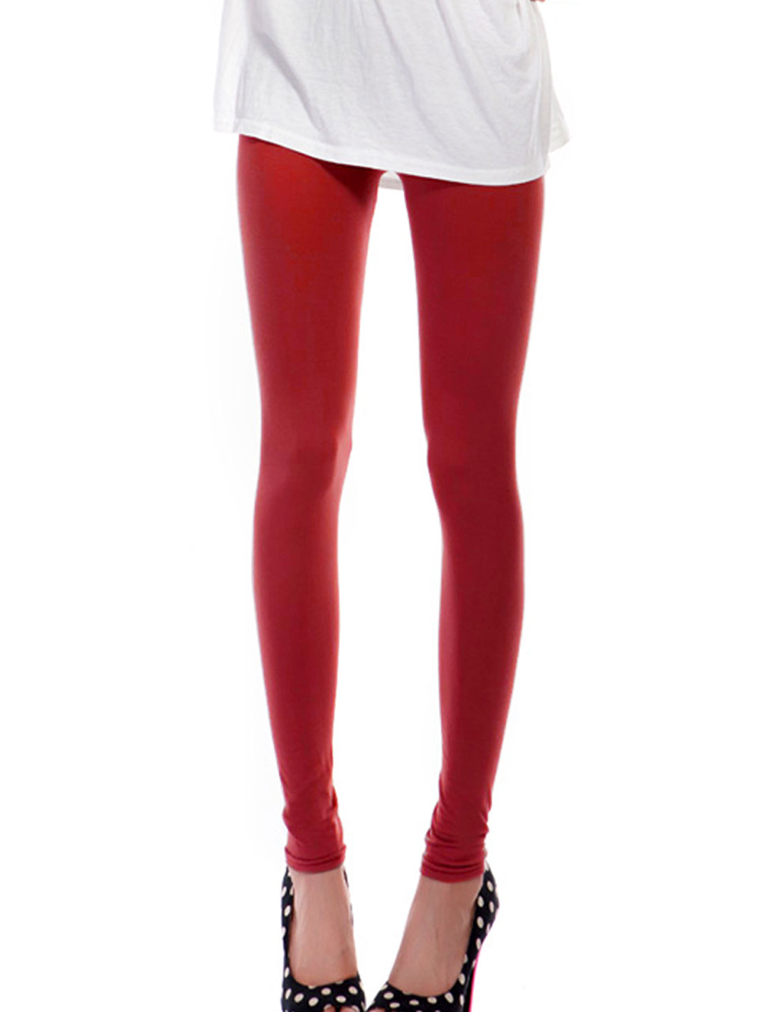 Women Mid Waist Elastic Fashionable Leggings Red Turquoise XS