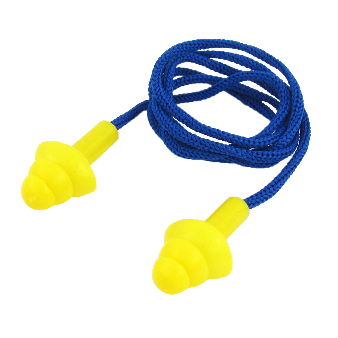 Nylon String Swimming Flexible Silicone Ear Plugs Earplugs Blue Yellow