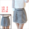 Ladies Concealed Zipper Side Pleated Detail Stripes Mini Skirt Blue S