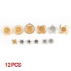 12 Pcs Gold Tone Metal Round Star Flower Shaped Peg Top Toys for