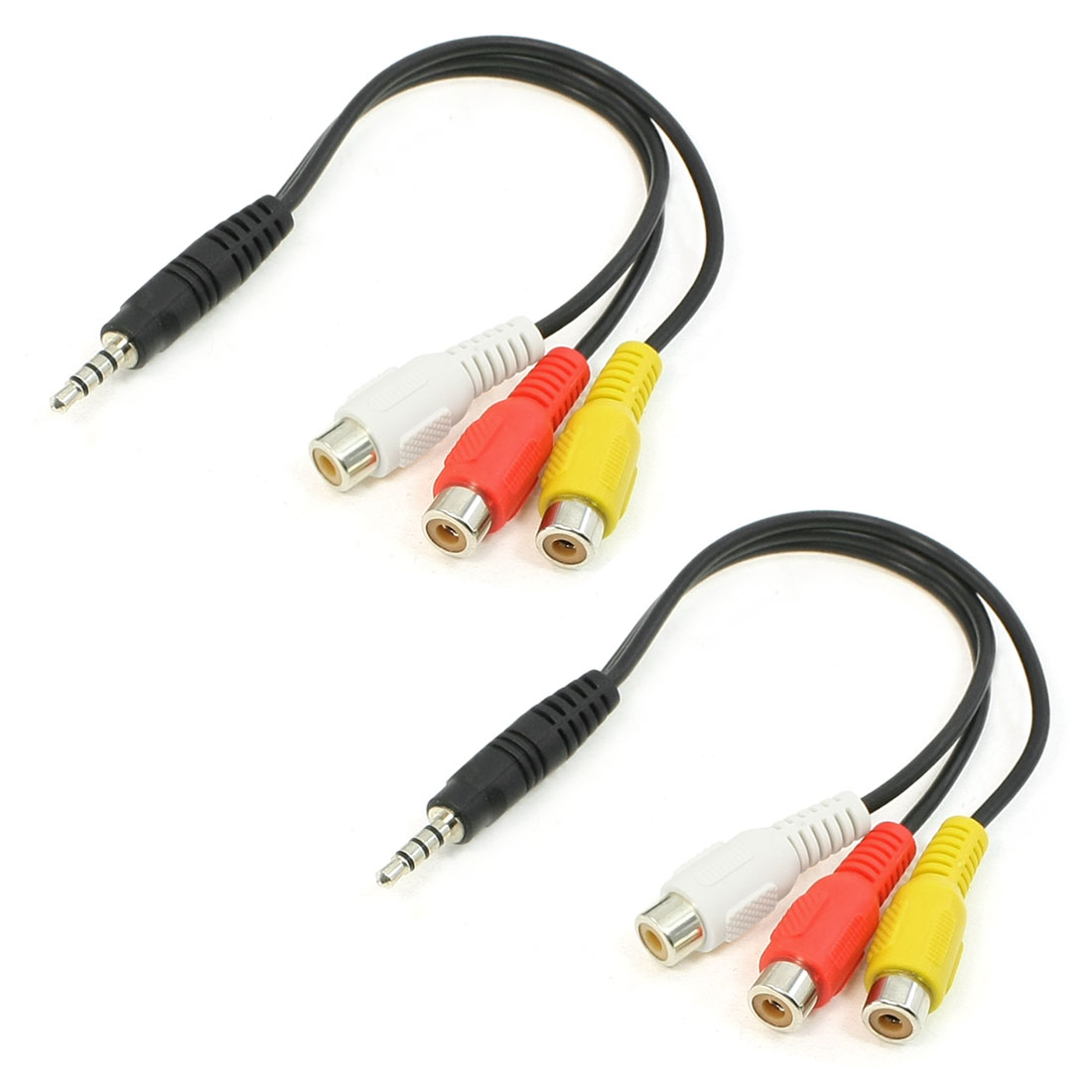 2Pcs 3 RCA Female Audio/Video Connector to 3.5mm Jack Plug Adapter Cable