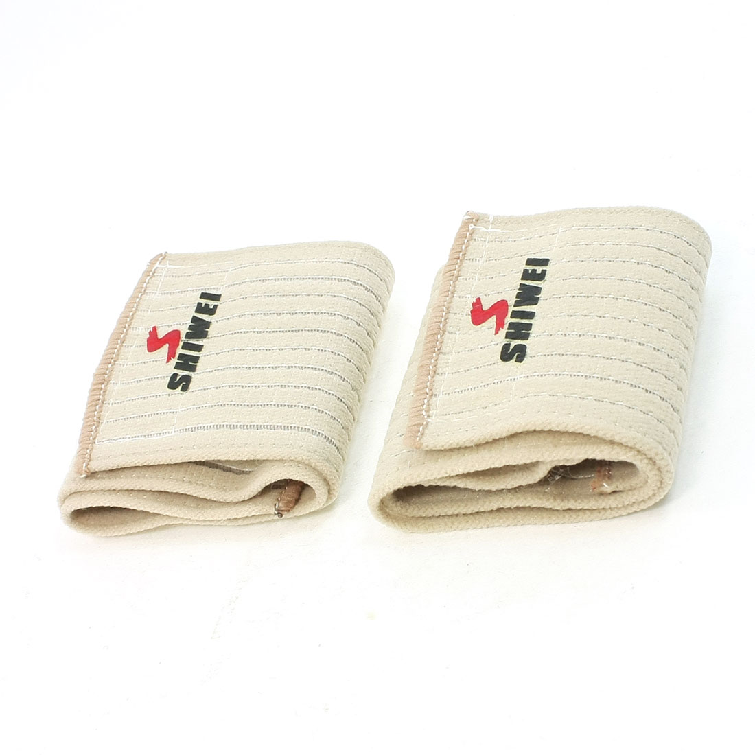 Pair Sports Athlete Hook Loop Closure Elastic Wrist Support Beige