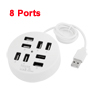 Circular 480Mbps 8 Ports Blue LED USB 2.0 HUB White for Desktop