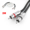 Vehicle Car 2 RCA to 2-RCA Extension Audio Cable Cord Lead White 2 Meters Long