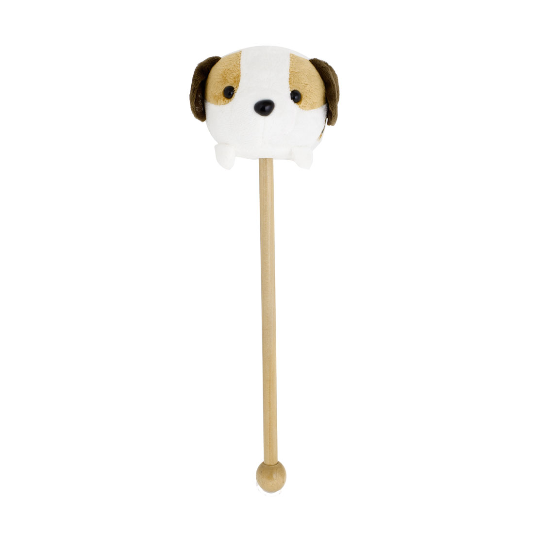 Soft Plush Pug Shaped Tip Wooden Handle Massage Hammer White Brown