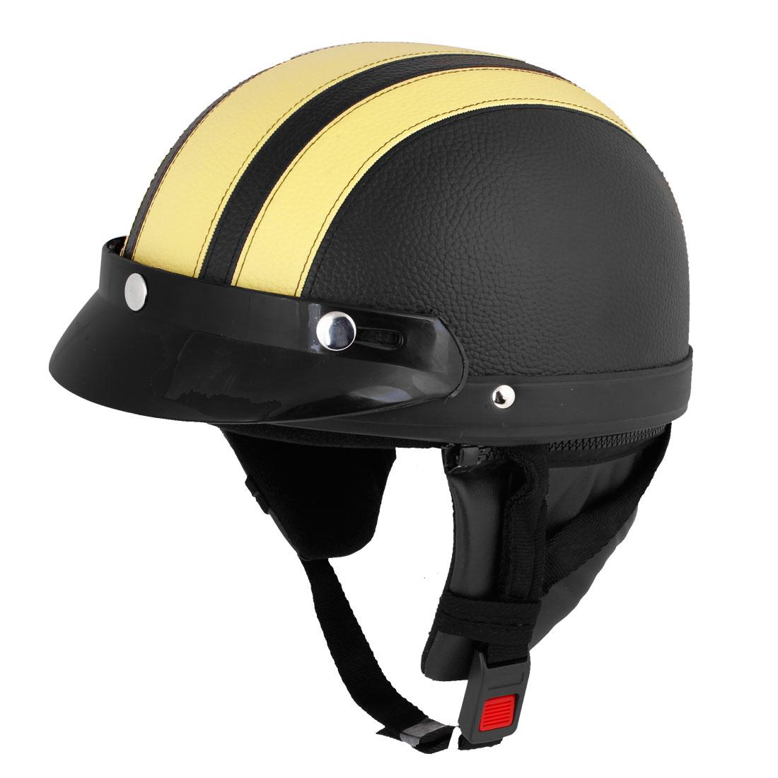 Yellow Black Faux Leather Covered Motorcycle Skull Cap Half Helmet w Scoop Visor