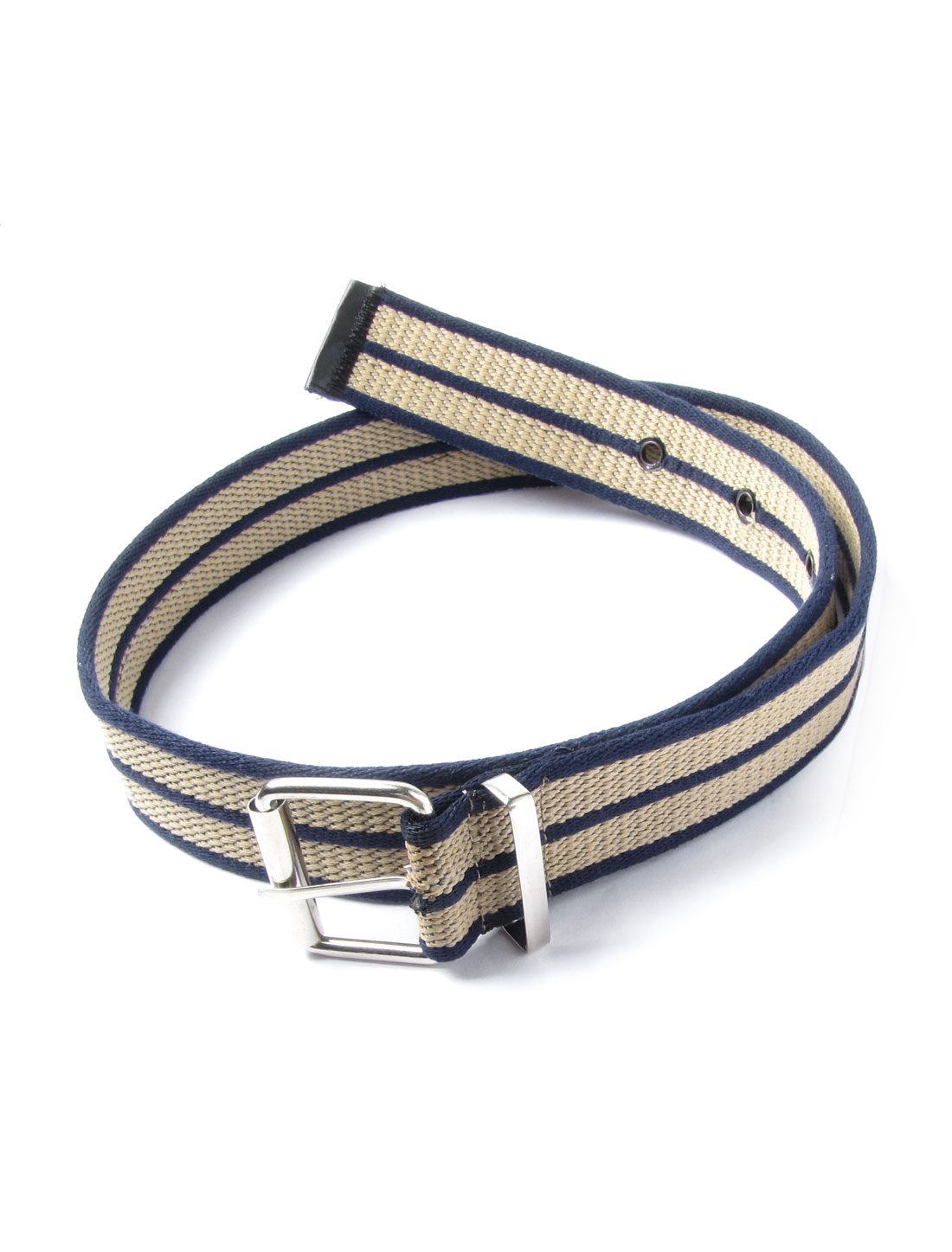 Man Women Khaki Blue Stripe Pattern Single Pin Buckle Leisure Belt