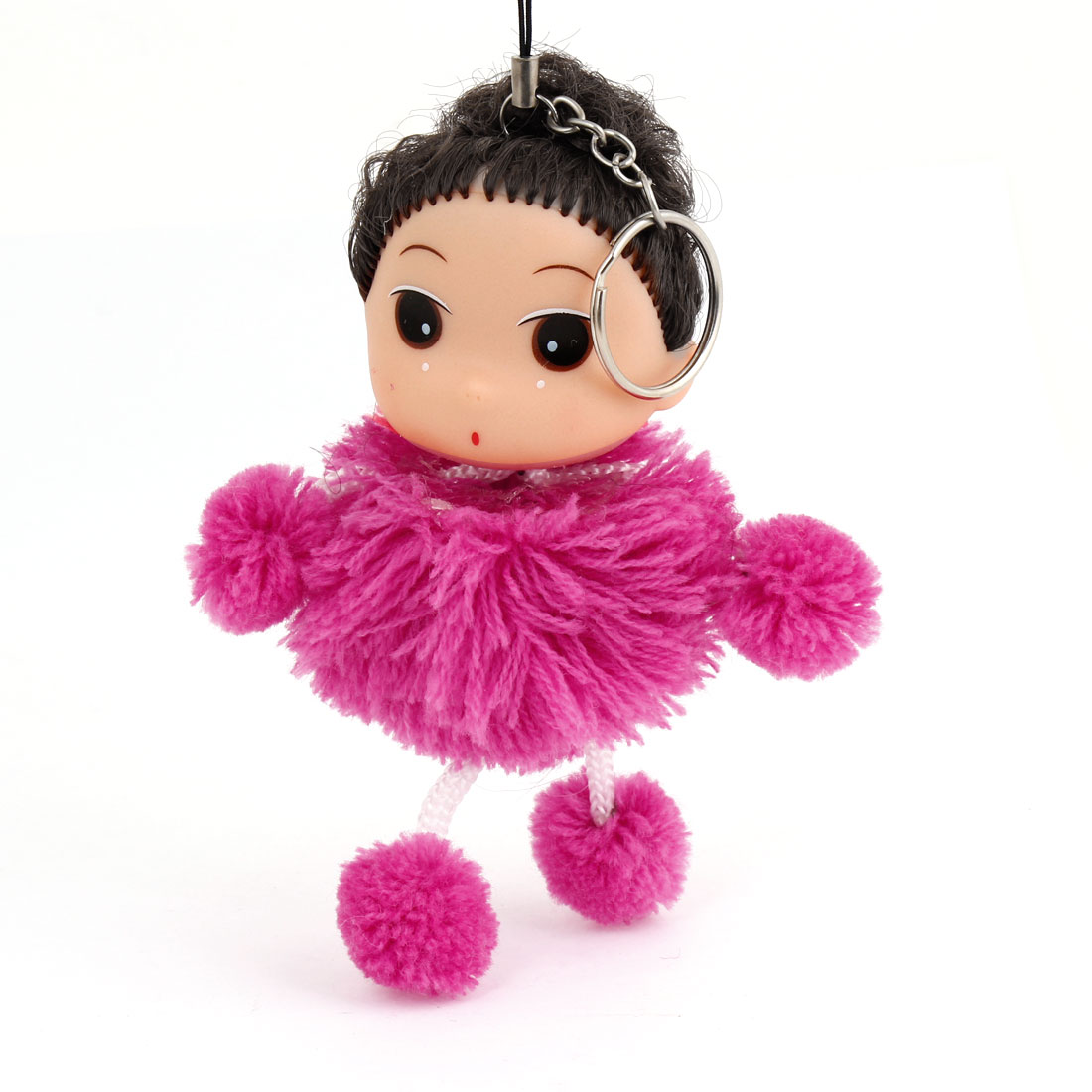 Dark Brown Hair Pom Pom Doll Pendant Fuchsia Strap Key Ring for Smart Phone