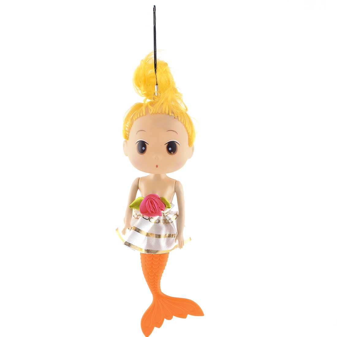 White Dress Yellow Curly Hair Mermaid Girl Toy Doll Handbag Pendant for Children