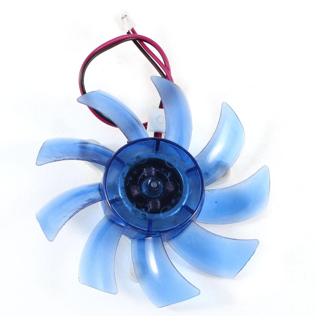PC Computer VGA Video Card Heatsink Cooler Cooling Fan Blue 75mm 2 Terminal DC 12V