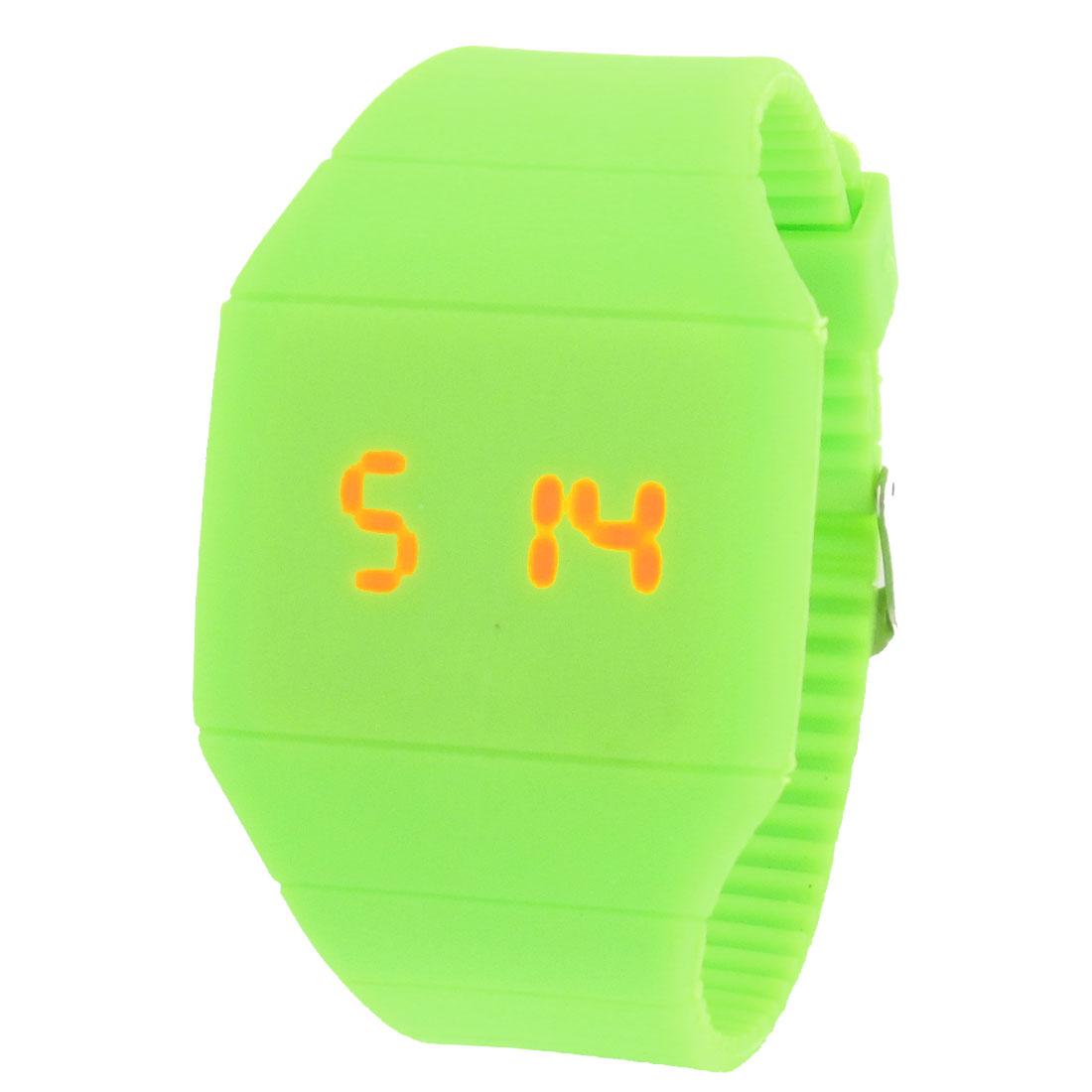 Magic Hidden Touch Screen Red LED Digital Green Sport Cuff Wrist Watch for Women