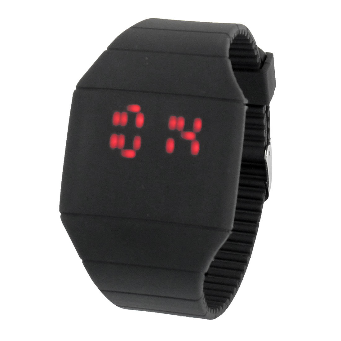 Women Single Pin Buckle Touch Screen Red LED Digital Display Watch Black