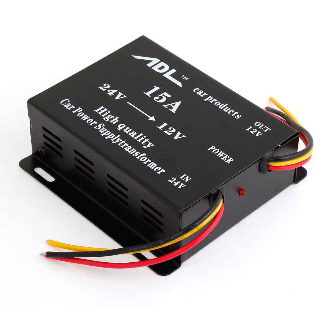 Black Metal Shell 15A DC 24V to 12V Automobile Car 6 Wired Power Transformer Converter