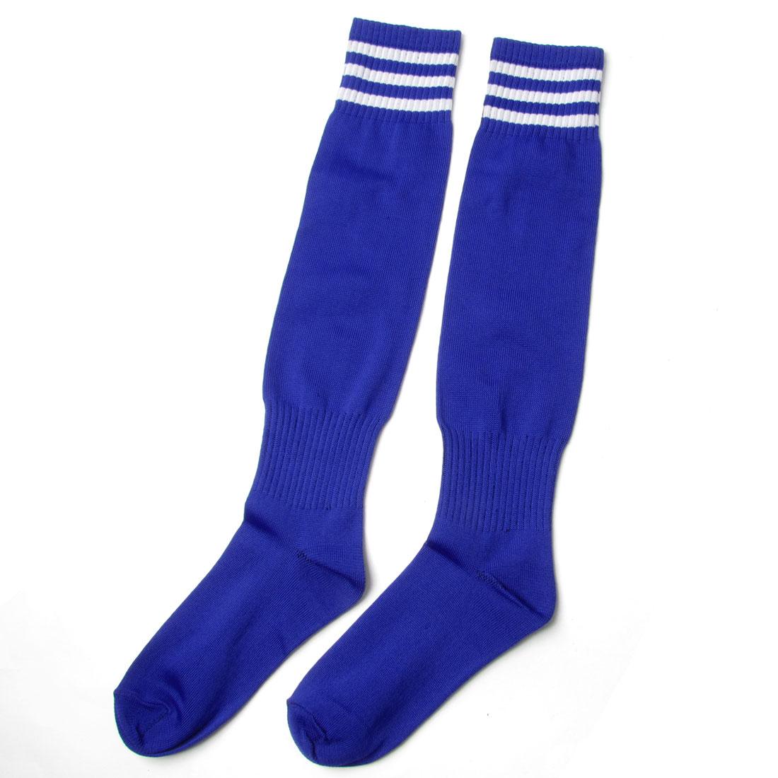 Pair White Bar Stripe Blue Elastic Football Socks Stockings for Children
