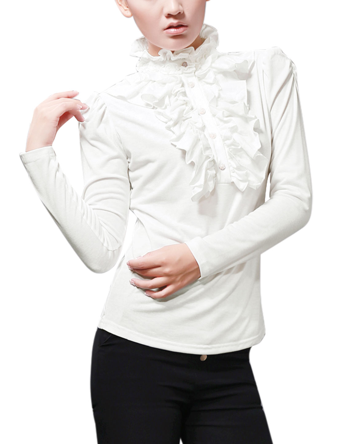 Women Chic Flouncing Stand Collar Long Sleeved White Top Shirt XL