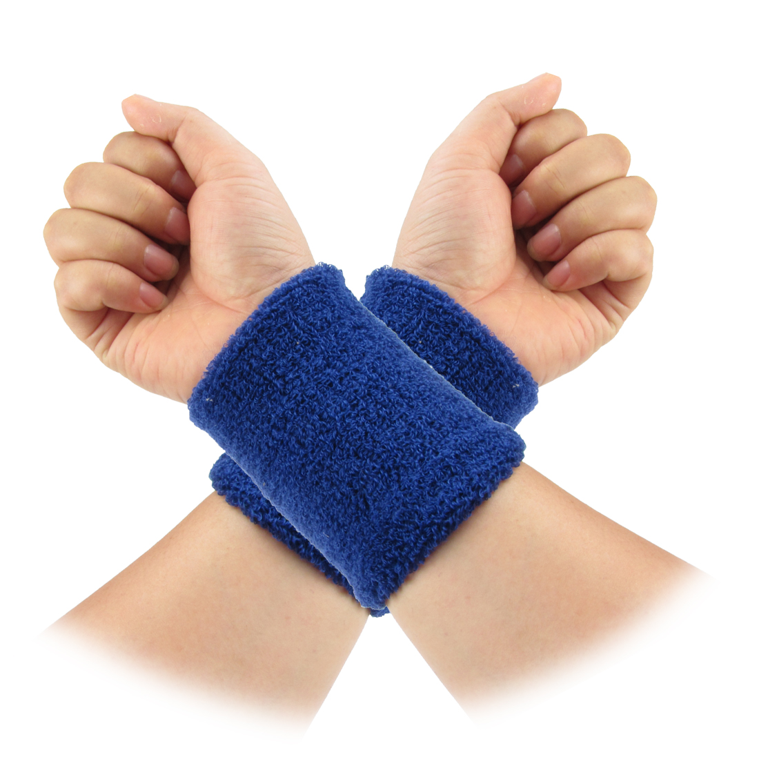 2pcs Dark Blue Basketball Volleyball Elastic Brace Wristband Wrist Protector