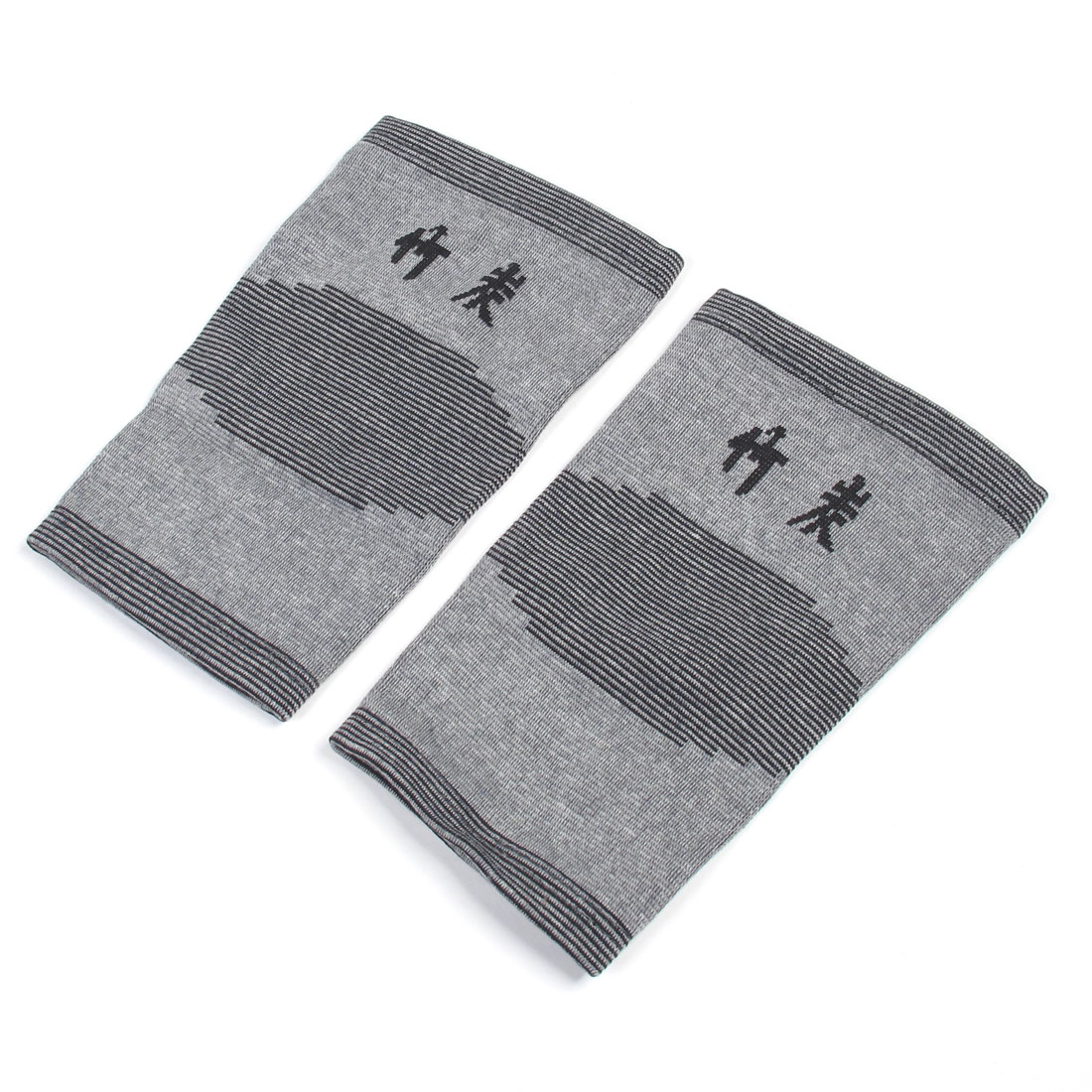 Pair Gray Black Strips Printed Pullover Design Stretchy Knee Support Protector