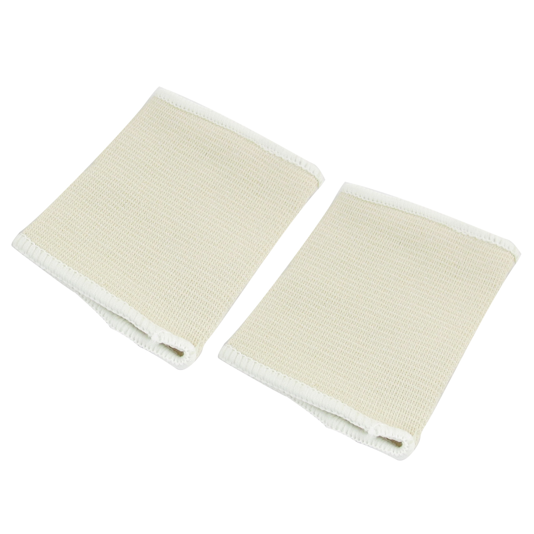 2 Pcs Beige White Elastic Band Pullover Shape Wrist Support Protector Brace