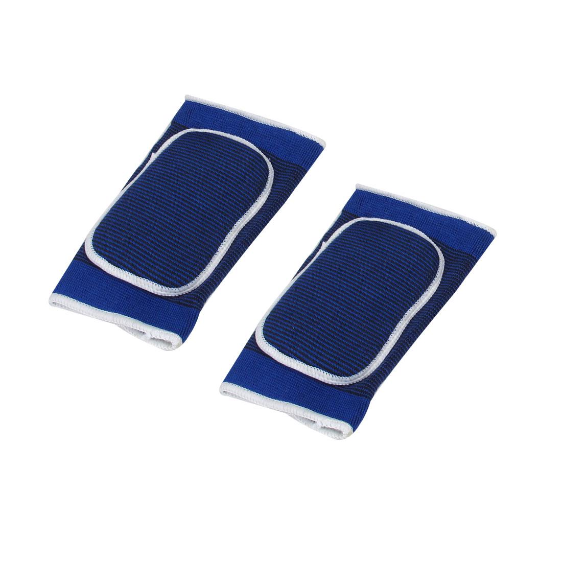 2 Pcs Blue Black Strips Pattern Pullover Sponge Filled Elastic Knee Support