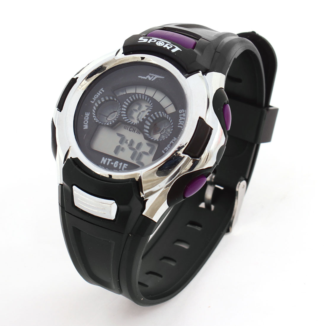 Black Purple Round Dial Adjustable Wristband Sports Digital Wrist Watch for Man