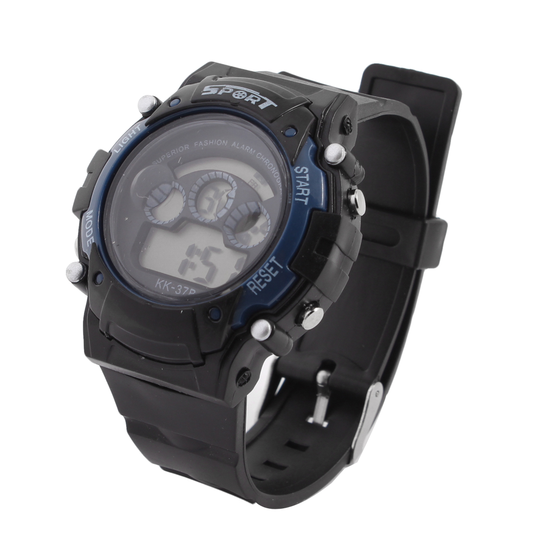 Black Blue Adjustable Band Stopwatch Alarm Digital Sports Wristwatch for Man