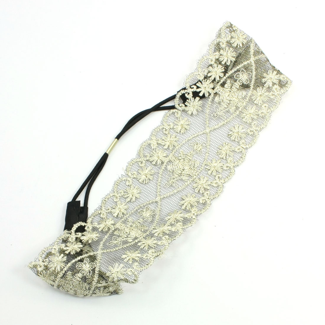 "Apricot 2.5"" Width Paillette Flowers Pattern Elastic Headband for Women"