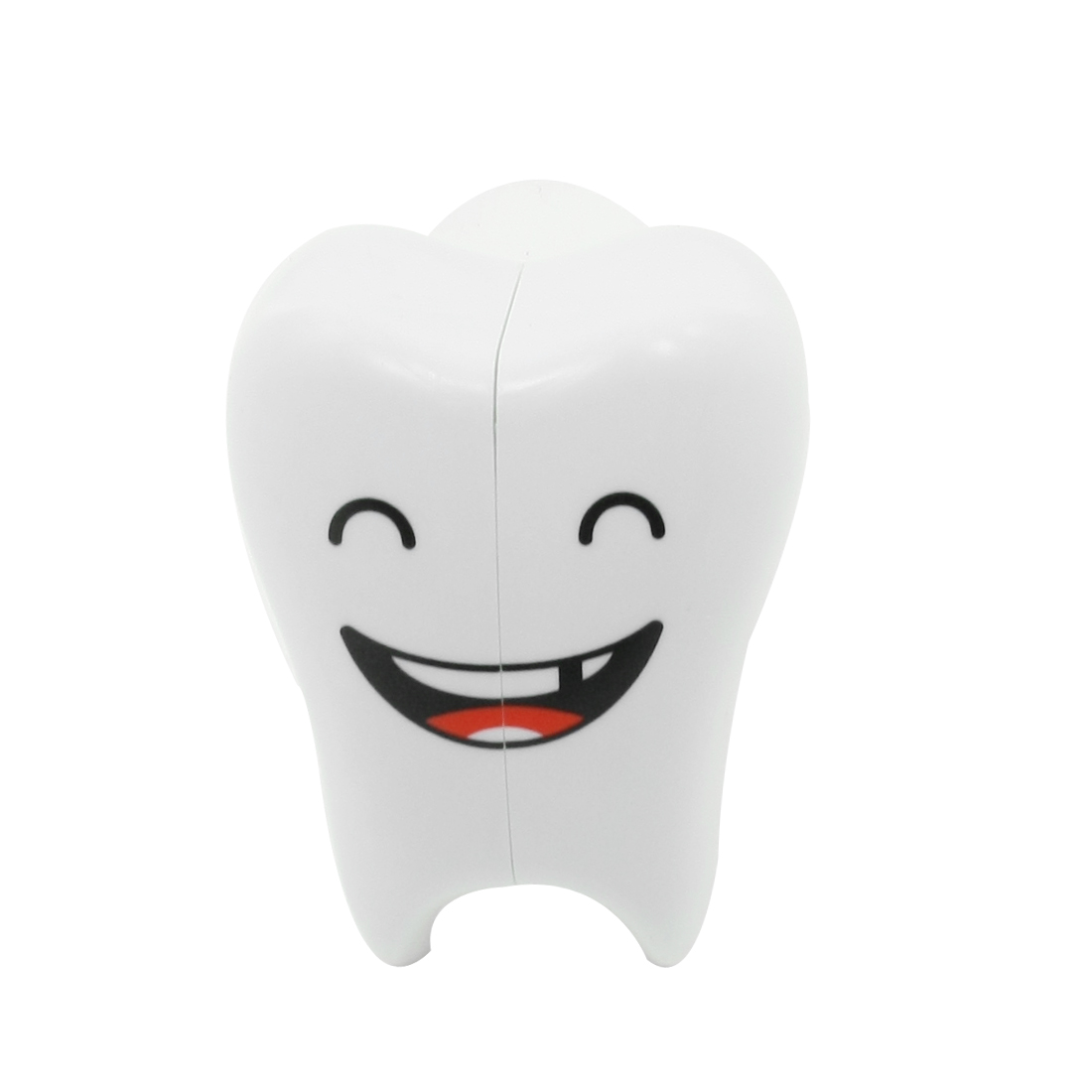 White Plastic Smiling Tooth Shaped Toothbrush Holder Organizer