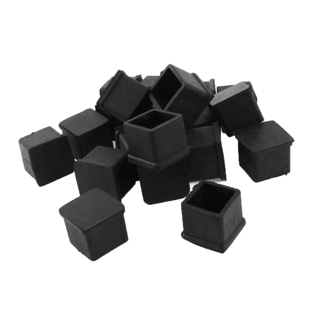Chair Table Square Leg Black Rubber Foot Covers 20mm x 20mm 20pcs