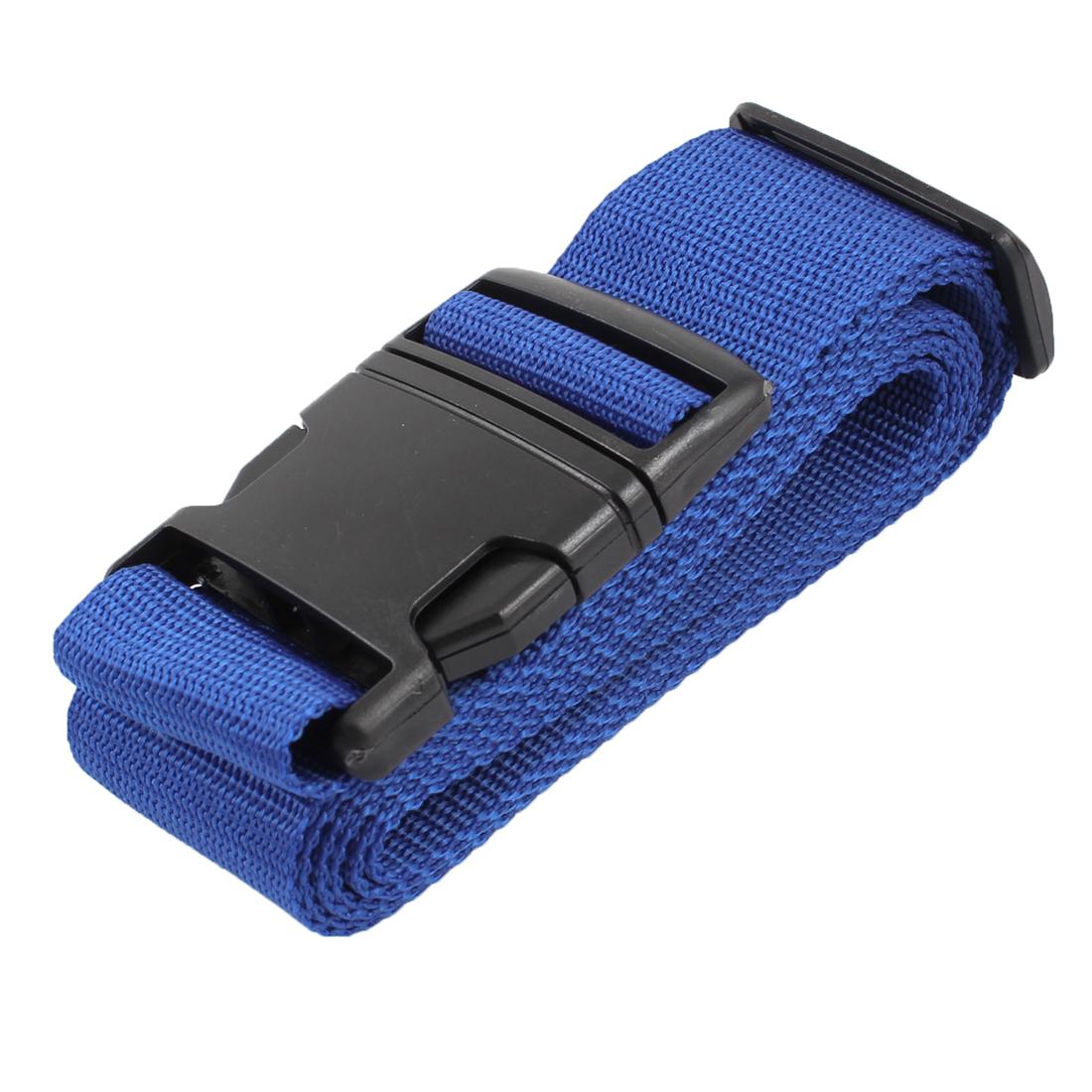 Plastic Release Buckle Adjustable Luggage Strap Belt Black Blue