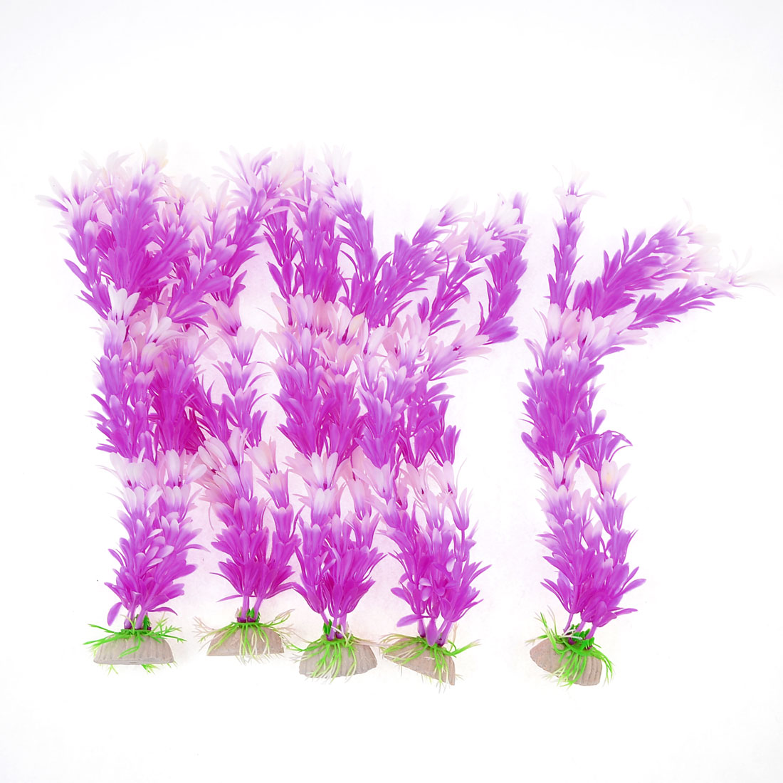 5 Pcs Fish Tank Aquascaping Purple White Artificial Aquatic Grass Ornament 11.4""