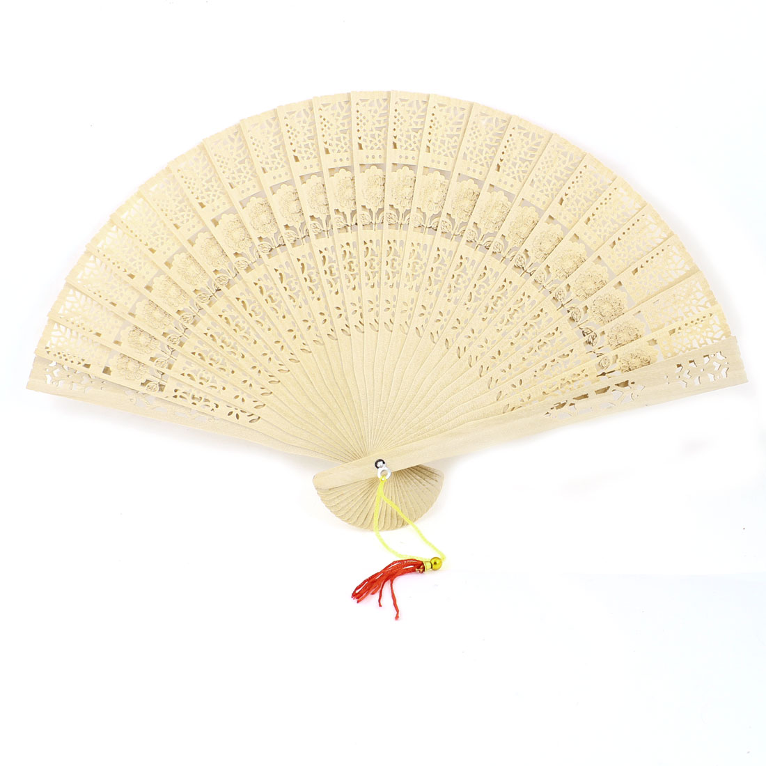Flower Pattern Carved Folding Wooden Traditional Fan for Lady