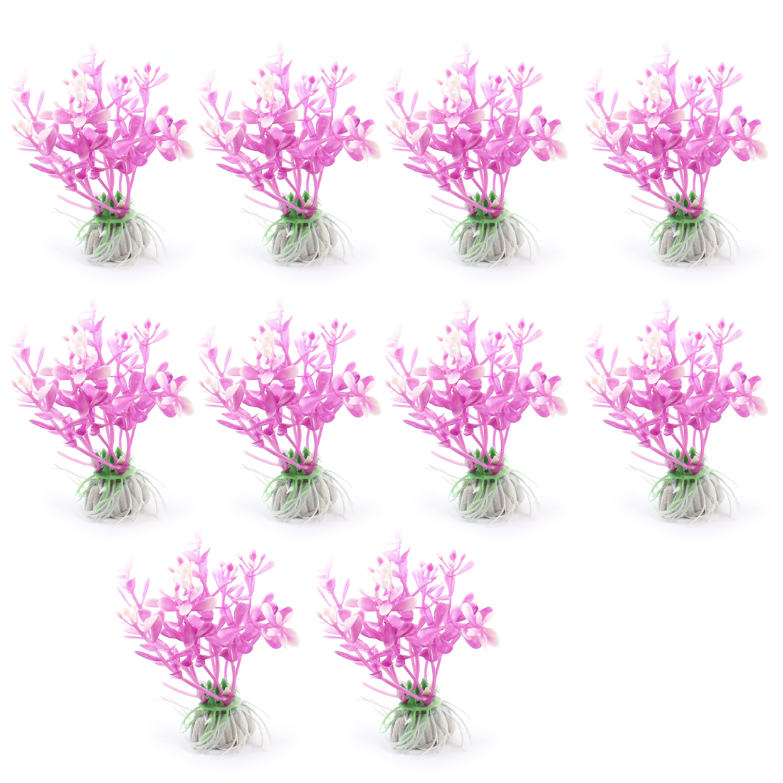 "10 Pcs Purple White 3.5"" Height Plastic Artificial Plant Ornament for Aquarium"