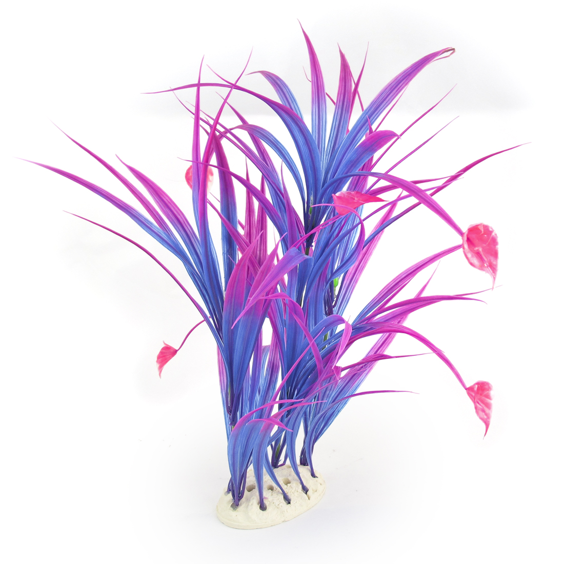 "16.9"" Height Ceramic Base Blue Fuchsia Emulational Plant Decor for Aquarium"