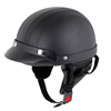 Black Faux Leather Covered Motorcycle Skull Cap Half Helmet w Scoop Visor