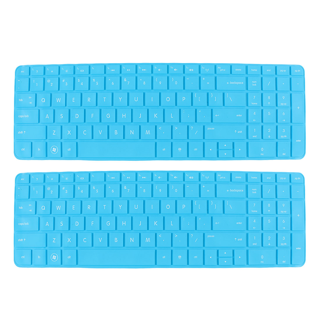 2 Pcs Blue Silicone Notebook Keyboard Skin Cover Protector Film for HP 15""