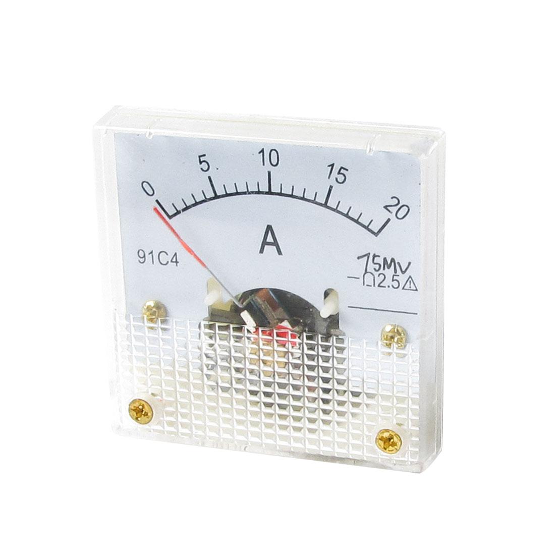 Analogue DC Current Panel Meter 0-20A Amperemeter Gauge w Screws